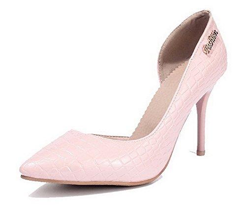 Donna Chiaro Prende Alto Voguezone009 Rosa Brevetto Scarpe Tacco Di Solido A Colore Punta d67Tgq6