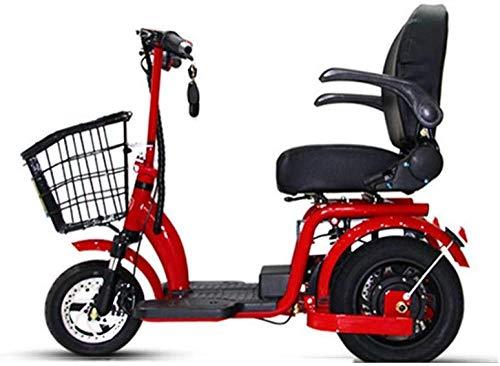 June Erwachsenen Roller Elektro-Dreirad Old Folding Manned Elektroauto Verfügt über Intelligente DREI-Gang-Einstellung Kleine Batterie Auto 48V15ah Rot