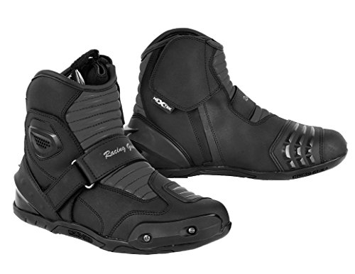 Nextek New Design Echtes Leder Motorrad gepanzertes Aufladungen Motorrad-kurzes Knöchel-Schutzstiefel Schuhe Anti Rutsch Sports Reflector | Schwarz / Black, EU 43