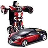 Transform Robot Racer Car 2 In 1 Bright Lights And Music Battery Operated Toy ( MULTI COLOR)