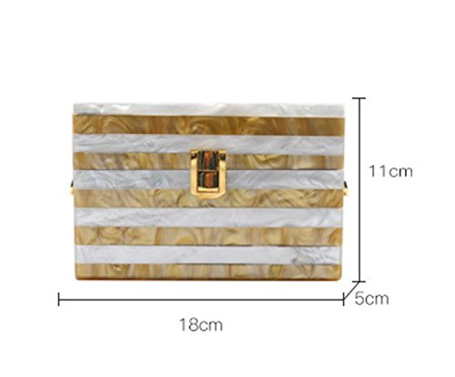 GSHGA Womens Taschen Rechteck Acryl Streifen Nehmen Sie Den Kampf Dinner Tasche Tasche Schulter Messenger Bag Handtaschen,Blue Gold