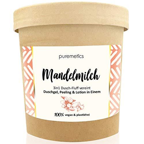 puremetics 3in1 Dusch-Fluff (250g)   Duschgel, Peeling und Lotion in Einem   100{5e2cf318a802240a3ede60039946695f9e08291d8b9c6d13db7c7a81c5ef1414} vegan & plastikfrei   pflegend, hautverfeinernd & glättend   ohne Mikroplastik   Zuckerpeeling (Mandelmilch)