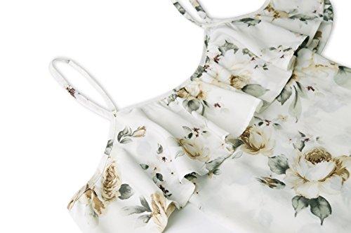 CoCo Fashion Damen Trägerkleid Strandkleid Partykleid Sommerkleid Cold Shoulder Freizeitkleid mit Floral Blumen Print Weiß