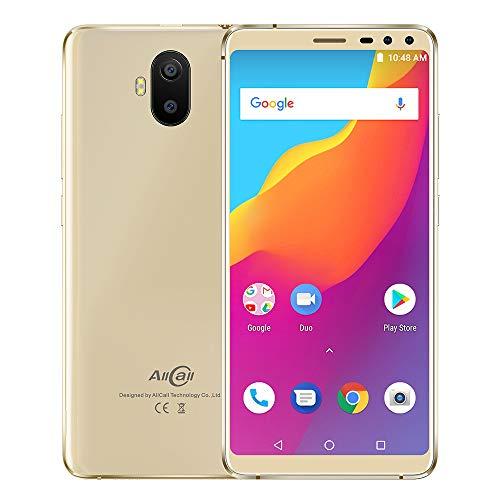 AllCall S1 Günstige Smartphone Android 8.1 5.5 Zoll IPS qHD, Doppelglas Vollschutz,13+2.0MP Dual Rückkameras 5+2.0MP Selfie-Kameras 5000mAh Real Akku 4cores 2GB Ram+16GB ROM 3g Handy (Gold)