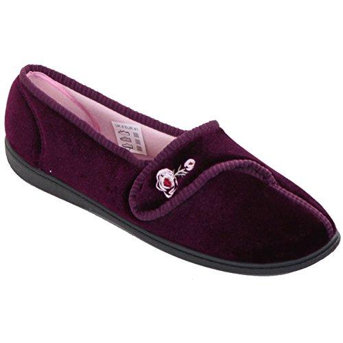 Saphir Boutique Damen gepolstert weich niedrig Keil Riemen bequem Rose Bestickt Pantoffeln - Heather, 8 UK (Keil Niedrige Bequeme)