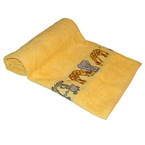 Badetuch Baby Ökotex100 Gelb Tiere 70x140 cm 100 % Baumwolle -