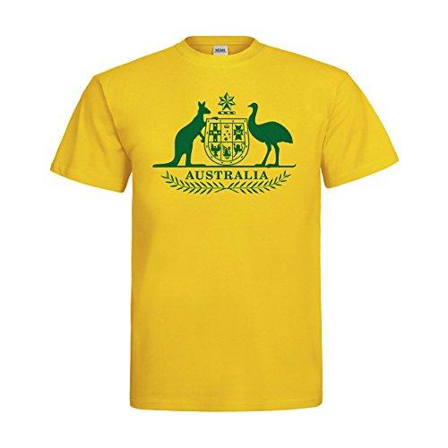 MDMA T-Shirt Australien Wappen Motiv Australia N14-mdma-t00348-400 Textil Gold/Motiv Gruen Gr. XXL