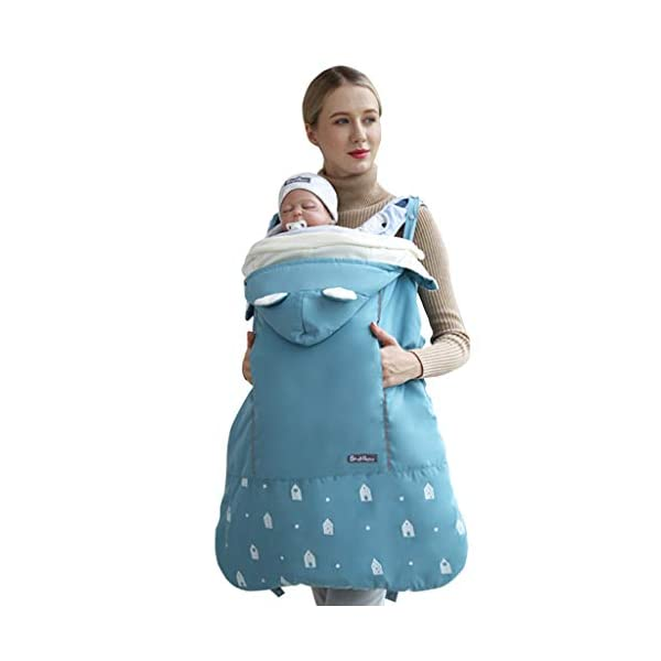 Baby Carrier Cover Windproof Winter Carrier Backpack Cloak Blanket with Warm Pocket, Blue Minizone Baby windproof carrier cover: made of high quality polyester. Reflective belt design, makes mommy and baby more safer at night. Baby Carrier Sling: Detachable hooded. Suitable for all kinds of baby sling, carrier, sleeping bag and hipseat. Cuddle pocket is perfect for keeping mom's hands warm. Adjust the length according to your baby's age. 1
