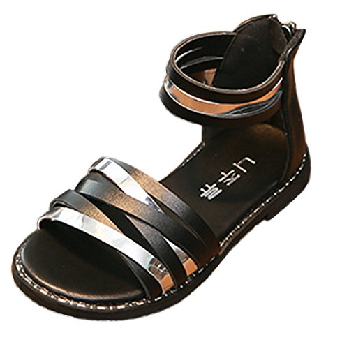 Oasap Girl's Fashion Oepn Toe Ankle Strap Flat Sandals Black