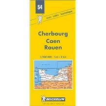 Carte routière : Cherbourg - Caen - Rouen, 54, 1/200000