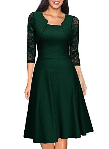 Miusol Damen Abendkleid Elegant Cocktailkleid Vintage Kleider 3/4 Arm mit Spitzen Knielang Party Kleid Gruen Gr.XL - 4