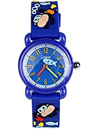 ele Eleoption Children's Watch Waterproof 3D Cute Cartoon Design Round Dial Silicone Rubber Jelly Color Watch Band Quartz Wristwatch for Little Xmas Girls Boy Kids Children (Cute Monkey, Darkblue)