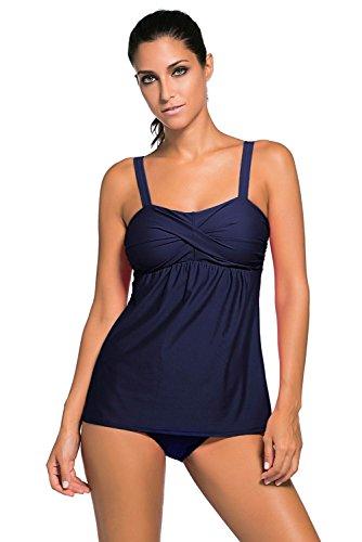 Haines Tankini Damen Badeanzug Zweiteiler Bademode Bikini Sets Gepolstert Oberteile + Hose Dunkelblau,XL (Badeanzüge Für Damen Tankini-set)