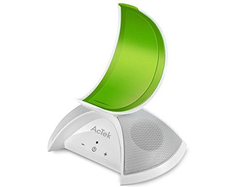 AcTek Kabelloser Lautsprecher Bluetooth Box mit 2 Treiber und Mond-Form Handy Ständer, ideal für Film oder Video auf dem Handy Schauen, AUX-Ausgang Port auch geeignet für Computer