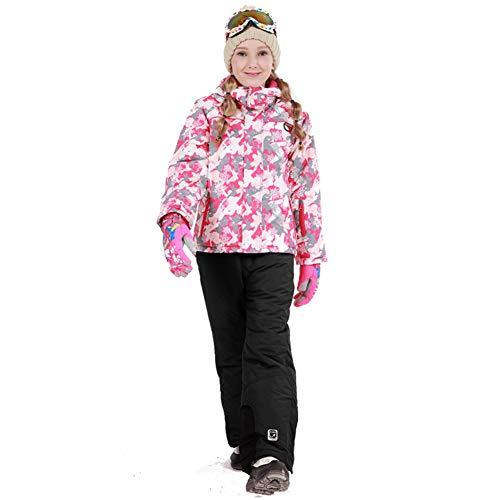 LPATTERN Traje de Esquí para Niños/Niñas Traje Conjunto de Nieve Impermeable para Deportes de Invierno, Rosa+Negro B, Talla:122-128/6-7 años