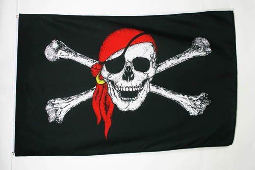 Az flag bandiera pirata con bandana rosso 90 x 60 cm occhielli