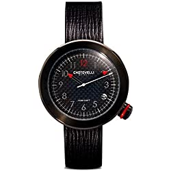 Chotovelli Gauge Men's Watch Automotive Dial Analogue Italian Black leather Strap 8800.5
