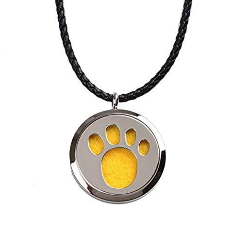 M.JVisun Aromatherapy Dog Paw Prints Pendant Locket Essential Oil Perfume Diffuser Necklace Hypo-allergenic Surgical Grade 316L Stainless Steel With 24