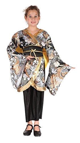 Mädchen schwarz/gold Geisha International Orientalische Tänzer Japanisch Chinesisch Kostüm Kleid Outfit 4-12 Jahre - Gold, 10-12 years (Japanische Geisha Kostüme Zubehör)