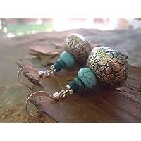 ✿ Turquesa y MADERA ✿ Pendientes únicos