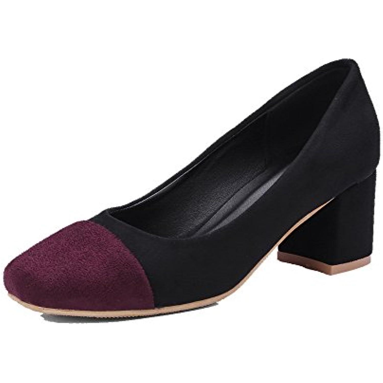 AgooLar Légeres Femme Suédé Couleurs Mélangées à Talon Correct Chaussures Légeres AgooLar - B07D7P9BZ4 - 645298