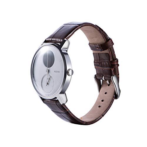Nokia Steel Band/Withing Steel Armband,Gosuper Luxus-Leder Watch Armband Atmungsaktiv Ersatz Strap für Nokia Steel/Nokia Steel HR/Withing Steel/Withing Steel HR(Woman 18mm) (Für Watch Band Protector Leder)