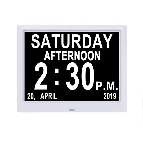 Jaihonda [IPS Display] Digitaler Kalender Tagesuhr Nicht abgekürzt Tages- und Monatssicht beeinträchtigt Memory Loss Wandschreibtisch/Regal Elektronische Uhr für Senioren - Elektronische Regale