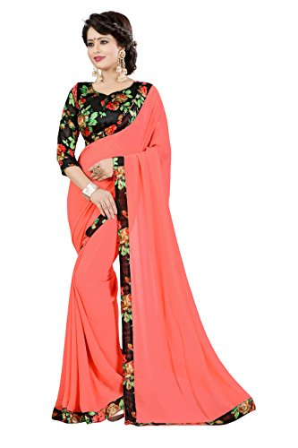 OOMPH! Georgette Saree with Blouse Piece(rbaf_Coral Pink_Free Size)
