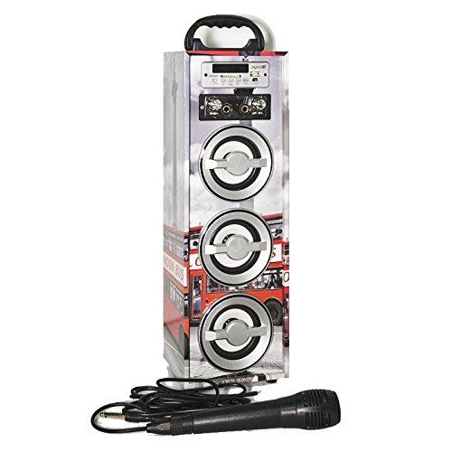Karaoke DigiVolt HIFI-21 by MovilCom   altavoz bluetooth reproductor mp3 reproductor multimedia USB Micrófono Radio FM Entrada AUX Mando London Bus