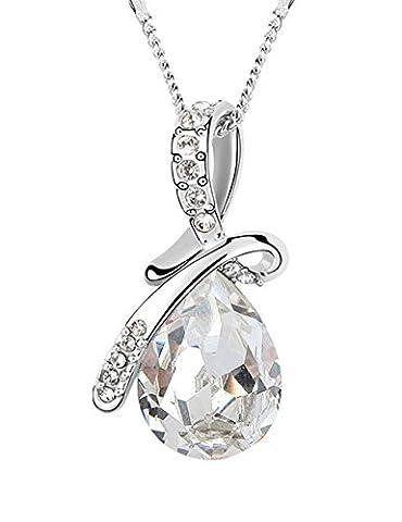 FANSING Bijoux Cadeau Goutte d'eau Baisse Forme Autrichien Cristal 3.2*1.7cm Pendentifs Colliers Pour Femme