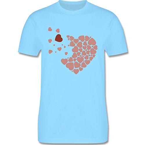 Romantisch - Herz Herzchen - Herren Premium T-Shirt Hellblau