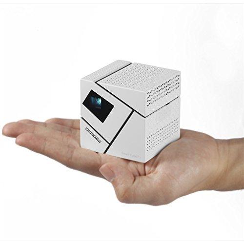 Projecteur DLP LESHP Vidéoprojecteur Built-in Android et WiFi Quad Core 1280 x 780 Projecteur LED Mini Cube pour Films et Jeux (Blanc 1)