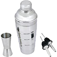 Kosma Set of 4Pc Cocktail Set Acero Inoxidable: Designer Cocktail Shaker 750 ml, 2Pc Free Flow pourer para vino, Peg Measure 30x60ml