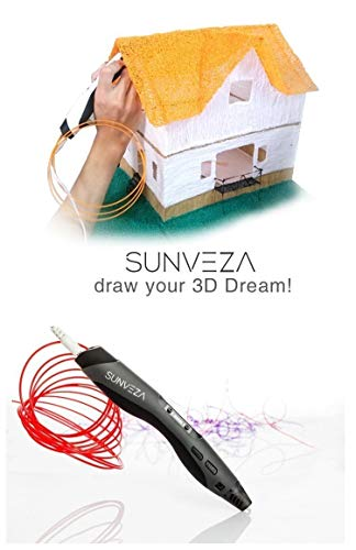 SUNVEZA 3D Stift / 3D Pen | 3D Druckstift Set – Ultimatives Set für Freihand 3D Zeichnungen INKLUSIVE 4x Farben Filament + Schaufel + kostenlose Vorlagen zum Download | mit intelligentem LCD-Display und Temperaturanzeige – Neue Generation! - 6