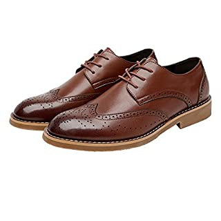 Jingkeke Herren Classic Business Schuhe Matte Breathable Hollow Carving Echtes Leder Lace-up gefüttert Oxfords auffällig (Color : Braun, Größe : 37 EU)