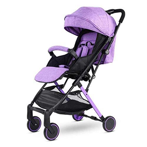 LBBHHSJ Kinderwagen Baby, Kinderwagen Sitz horizontale tragbare Falten 4 Rad Aufhängung Regenschirm Reise (Farbe: Lila)