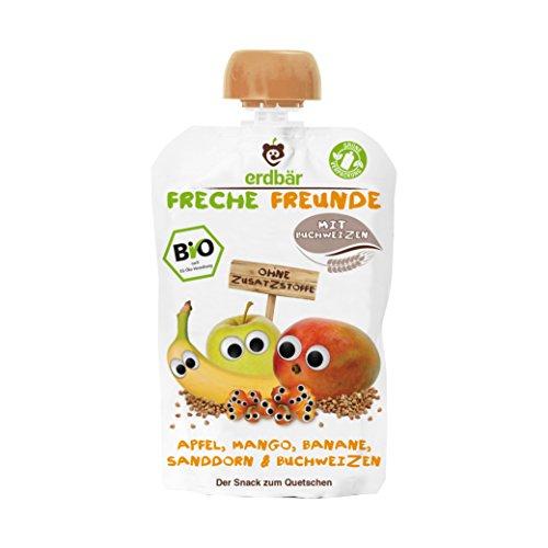 """Freche Freunde Bio Quetschie \""""Apfel, Mango, Banane, Sanddorn & Buchweizen\"""", 6er Pack (6 x 100 g)"""