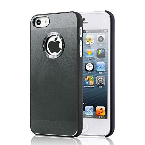 Eccellente Miglior Iphone 5 / 5S qualità cassa del diamante in alluminio bling copertura con il lato nero Rim per iphone 5 / 5S Simple Black brushed