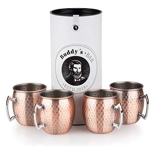 Buddy´s Bar - Moscow Mule Becher, 500 ml, hochwertiger Edelstahl-Becher, lebensmittelecht, Hammerschlag-Effekt, Cocktail-Tasse inkl. Geschenkbox, gehämmert, Kupfer Antik, 4er Set - Gehämmert Bar Set