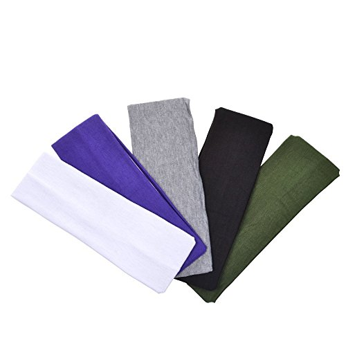 Fascia Per Capelli, 6,5 cm di larghezza, in cotone elasticizzato, per Yoga, Colori assortiti, Sportiva, Pack of 5