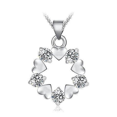 FANSING Schmuck 925 Sterling Silber Herz Liebe Zirconia Ketten Halskette Anhänger für Damen Mädchen Weiß