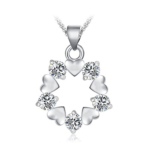 FANSING Schmuck 925 Sterling Silber Herz Liebe Zirconia Ketten Halskette Anhänger für Damen Mädchen (Engel Verkauf Schwarze Flügel Zum)