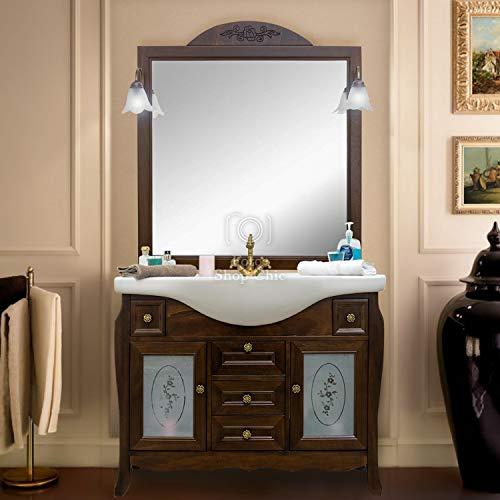 Shop chic arredo bagno in legno in stile classico noce con lavabo in ceramica