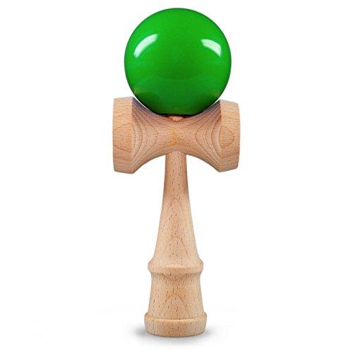 Kendama bola de madera de haya, aprox. 6cm de diámetro, Verde oberflächenlackiert, japonés tradicional Madera Bola de juguete, Juego, Juego de habilidad, marca Ganzoo (verde)