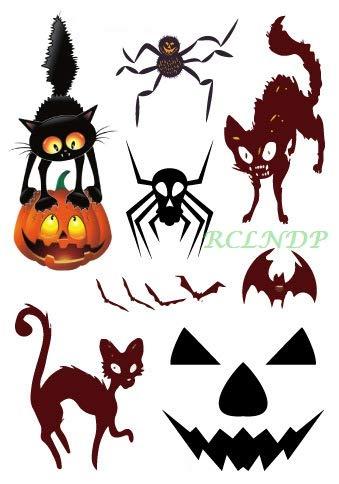 5pcs wasserdichte Tattoo Tattoo Sticker Halloween Spinne Katze Fledermaus Kürbis Maske Tatto Sticker Flash Tattoo Tattoos für Kinder