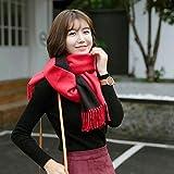 IYBLHDF Schal aus Kaschmir, für Herbst und Winter, dick, doppelseitig, lang, warm Gr. Einheitsgröße, Red and Black Spell