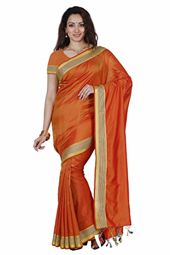Mimosa By Kupinda Art Silk Saree Kanjivaram Stlye Color:Gold (3350-MLI-01-RD-GLD)  available at amazon for Rs.599