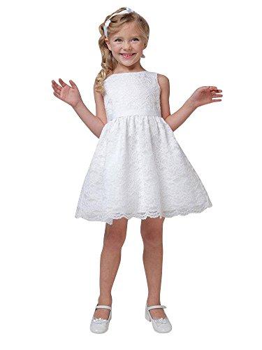 ZongSen-Bambini-Costume-Ragazza-Pizzo-Floreale-Collare-Rotonda-Senza-Maniche-Gilet-Vestito-Solido-Colore-Principessa-Partito-Tut