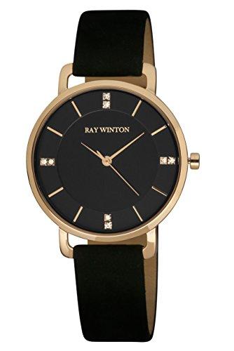 Ray Winton WI0806donna Slim analogico nero quadrante nero orologio in pelle scamosciata