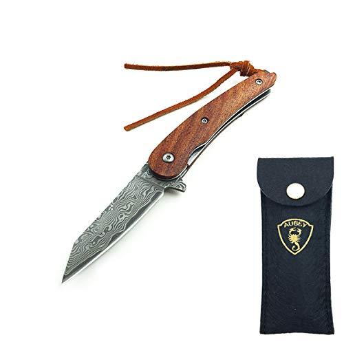 AUBEY Damast Taschenmesser Kein Holzgriff, Mini Messer Tanto EDC Jagdmesser Damaststahl, Klappmesser, Damastmesser Schlüsselanhänger, Damascus Knife